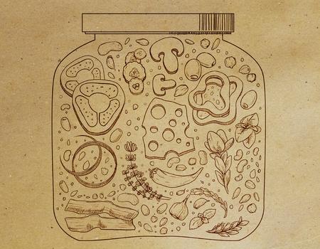 Abstracte voedselkruik die op pakpapierachtergrond trekken. Element concept