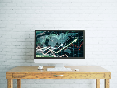 Creative designer desktop with forex chart on computer screen, coffee cup, and other items. White brick wall backdrop. Trade concept. 3D Rendering  Stock Photo
