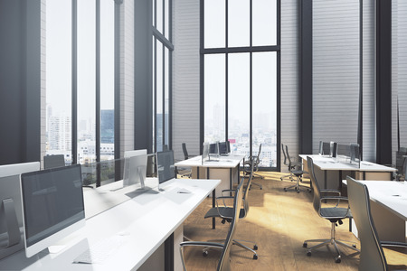 Modern coworking office interior with equipment, panoramic city view and sunlight. 3D Rendering