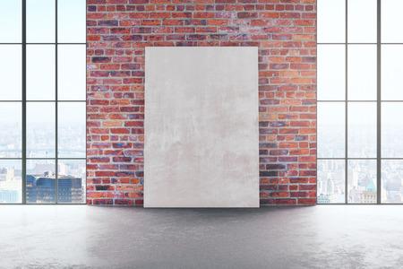 Abstract rood baksteenbinnenland met lege affiche op muur en panoramische stadsmening. Bespotten, 3D-rendering