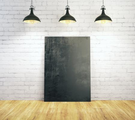 Wit baksteenbinnenland met lege die affiche met lampen en houten vloer wordt verlicht. Galerij, kader, copyspace, tentoonstellingsconcept. Bespotten, 3D-rendering