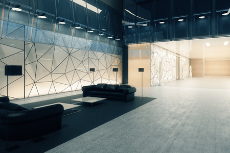 Modern polygonal glass office interior with business lounge. Side view. 3D Rendering  Фото со стока