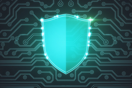 Creative glowing digital antivirus shield background. Safety and encryption concept. 3D Rendering