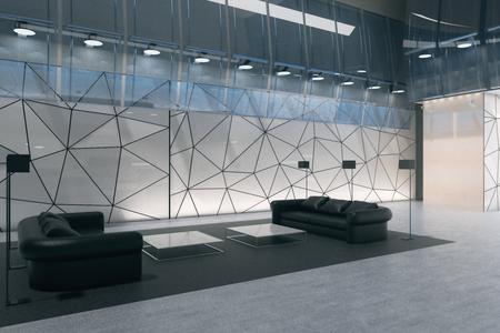 Interiore contemporaneo dell'ufficio di vetro poligonale con il salotto di affari. Vista laterale. Rendering 3D Archivio Fotografico - 90176295