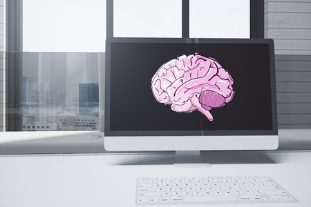 Close up of creative designer desktop with brain sketch on computer screen. City view background. Brainstorm concept. 3D Rendering