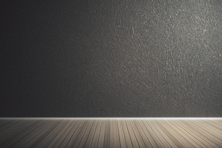 Modern interior with empty concrete wall and wooden floor. Advert concept. Mock up, 3D Rendering  Stock Photo
