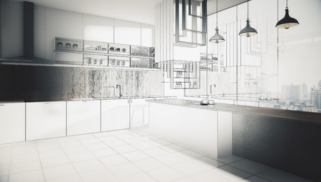 Abstract unfinished kitchen interior drawing. Engineering and project concept. 3D Rendering