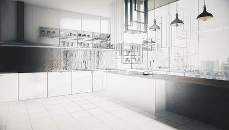 Abstracte onvoltooide keuken interieur tekening. Engineering en projectconcept. 3D-weergave Stockfoto