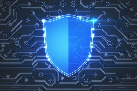 創造的な光るデジタル ウイルス対策シールド背景。安全性と暗号化の概念。3 D レンダリング