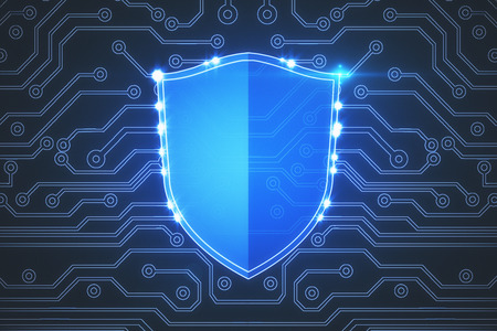 Creative glowing digital antivirus shield backdrop. Safety and encryption concept. 3D Rendering