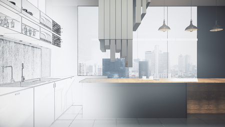 Abstract unfinished kitchen interior drawing. Engineering and blueprint concept. 3D Rendering