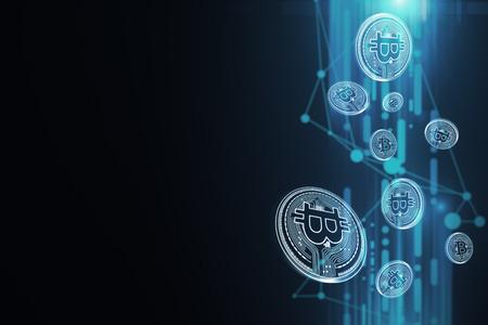 크리 에이 티브 빛나는 파란색 bitcoin 벽지입니다. Cryptocurrency, 전자 상거래 및 디지털 뱅킹 개념. 3D 렌더링 스톡 콘텐츠