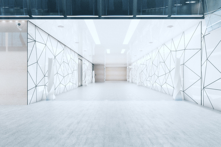 Modern office building hall with triangular glass pattern on walls and doors. 3D Rendeirng