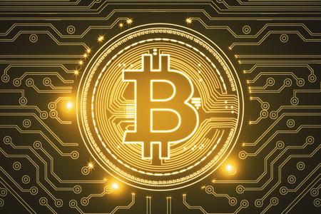 Creatieve gloeiende gouden bitcoinachtergrond. Cryptocurrency, e-commerce en digitaal bankieren concept. 3D-weergave Stockfoto