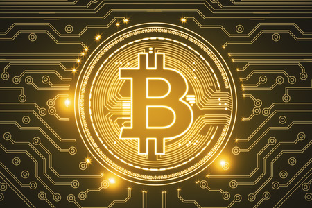 Creative glowing golden bitcoin backdrop. Cryptocurrency, e-commerce and digital banking concept. 3D Rendering