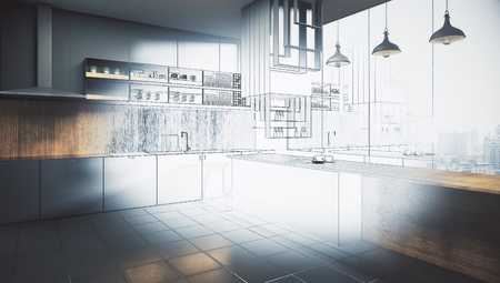 Abstract unfinished kitchen interior drawing. Engineering and plan concept. 3D Rendering Stok Fotoğraf - 90177392