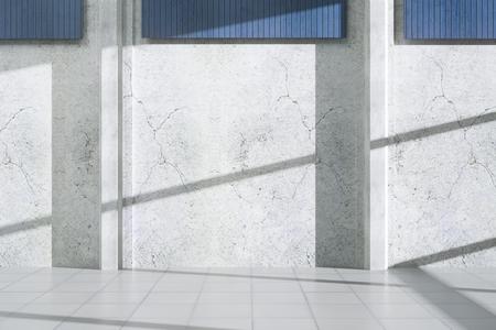 Concrete buitenkant met schaduwen, zonlicht en blinde muur. Advertentie concept. Mock up, 3D-rendering