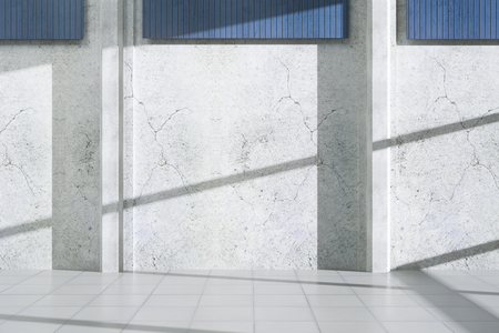 Concrete exterior with shadows, sunlight and blank wall. Advertisement concept. Mock up, 3D Rendering