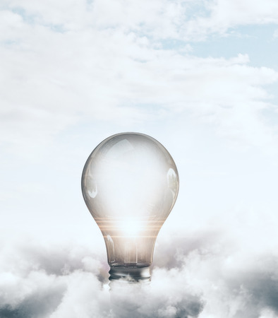 Abstract glowing lamp on cloudy sky background. Idea and innovation concept. 3D Rendering
