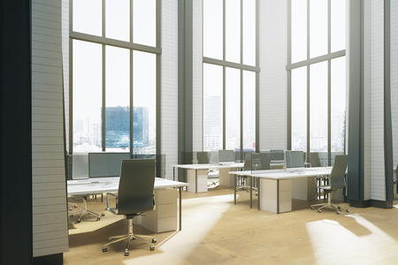 Clean coworking office interior with equipment, panoramic city view and sunlight. 3D Rendering