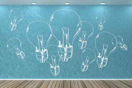 Modern interieur met getekende gloeilampen op de muur. Idee, innovatie en verlichting concept. 3D-weergave