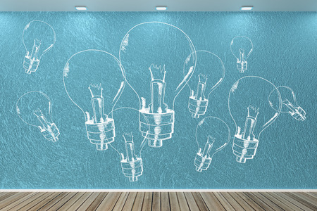 Modern interior with drawn light bulbs on wall. Idea, innovation and enlightenment concept. 3D Rendering