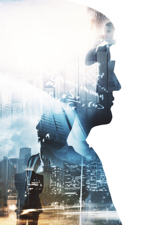 Side portrait of businessman on abstract city background with mathematical formulas. Education and think concept. Double exposure