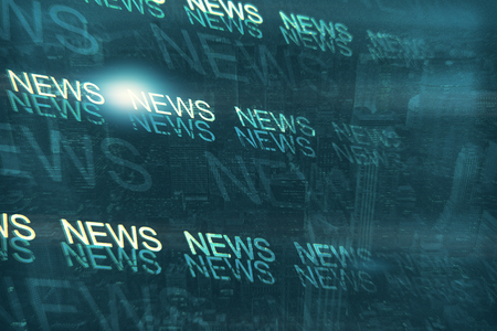 Abstract news text lines on blue city backdrop. Informational program concept. Double exposure