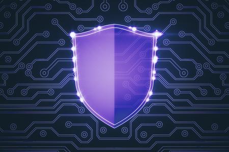 Abstract purple antivirus shield on circuit wallpaper. Web safety concept. 3D Rendering Reklamní fotografie - 90694234