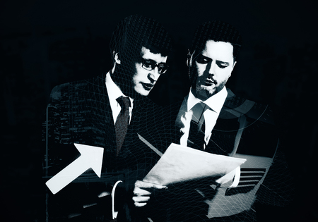 Abstract polygonal portrait of businessmen discussing contract with arrow. 3D Rendering