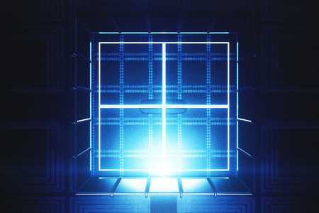 Abstract glowing safe digital backdrop. 3D Rendering