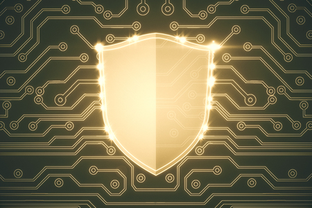 Abstract yellow antivirus shield on circuit background. Web safety concept. 3D Rendering  Zdjęcie Seryjne