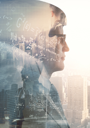Side portrait of businessman on abstract city background with mathematical formulas. Education and creative concept. Double exposure