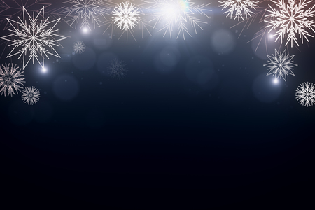 Creative digital winter backdrop with snowflakes and copy space. Celebration, festive concept. 3D Rendering