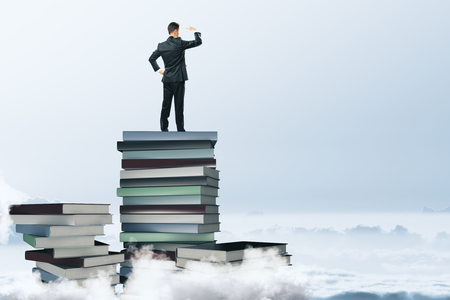 Back view of young businessman standing on abstract book pile and looking into the distance on cloudy sky background. Education and think concept. 3D Rendering