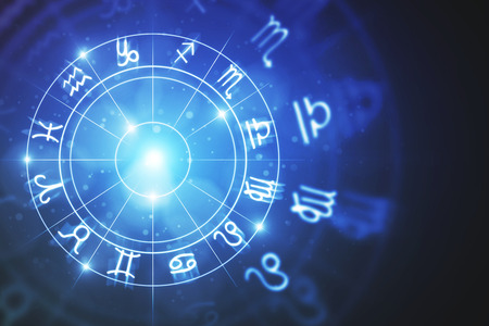 Creative glowing astrologic zodiac horoscope backdrop. Astrology concept. 3D Rendering  Banco de Imagens