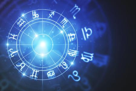 Creative glowing astrologic zodiac horoscope backdrop. Astrology concept. 3D Rendering  Standard-Bild