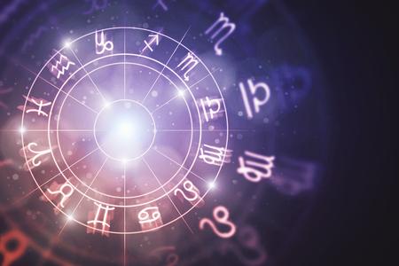 Creative glowing astrologic zodiac horoscope background. Astrology concept. 3D Rendering  Standard-Bild