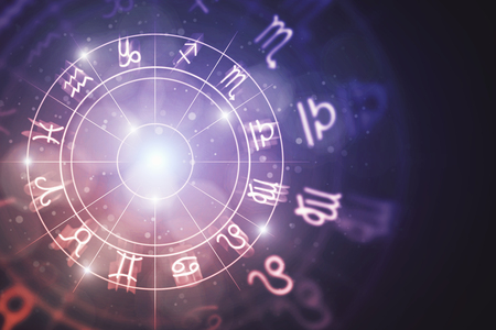 Sfondo di oroscopo astrologico zodiacale incandescente creativo. Concetto di astrologia Rendering 3D