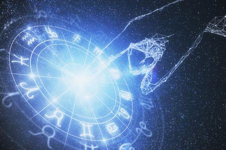 Resumen brillante fondo de pantalla del horóscopo del zodiaco astrológico. Concepto de astrología. Renderizado 3D Foto de archivo