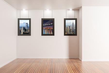 Modern interieur met fotolijsten opknoping op de muur. Galerij concept. 3D-weergave