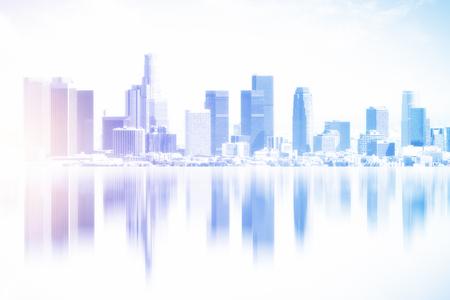 Beautiful reflected city backdrop. Creative wallpaper concept Standard-Bild