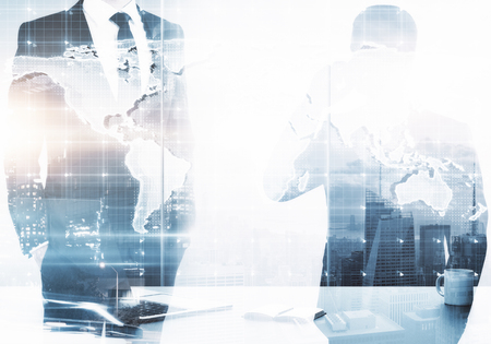 Businessmen in abstract office with coffee cup and map. International business concept. Double exposure  Stock fotó