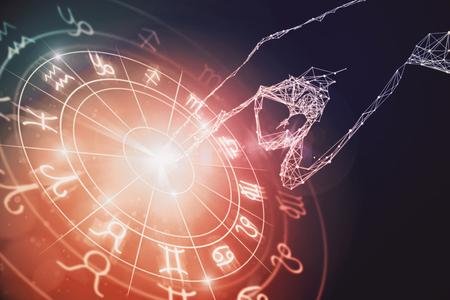 Creatieve gloeiende astrologische dierenriem horoscoop achtergrond. Astrologie concept. 3D-weergave
