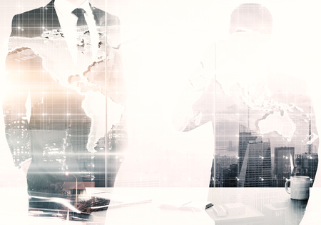 Businessmen in abstract office with coffee cup and map. Global business concept. Double exposure