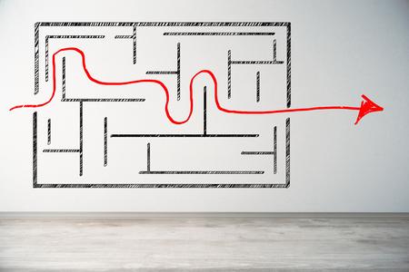 コンクリートの壁に迷路のスケッチが付いている軽い内部。ソリューションの概念。3D レンデイルン