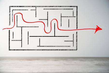 Light interior with labyrinth sketch on concrete wall. Solution concept. 3D Rendeirng  Stock Photo