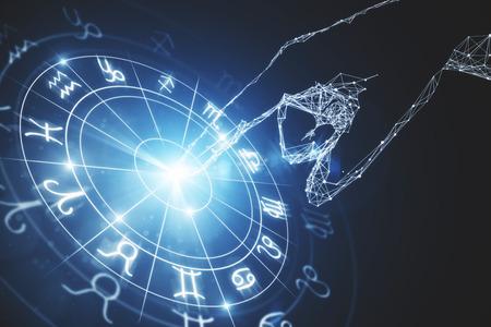 추상 빛나는 점성술 조디악 별자리 배경입니다. 점성술 개념입니다. 3D 렌더링