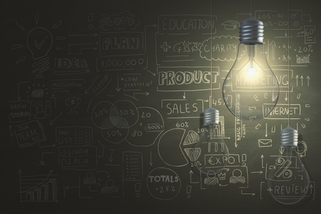 Glowing lamps hanging on chalkboard background with business sketch. 3D Rendering  Stock Photo