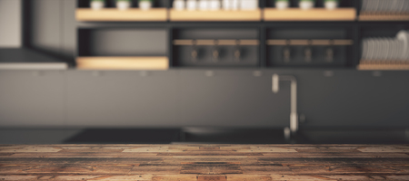 Close up of empty wooden table, surface or counter with blurry kitchen wallpaper. Copy space, 3D Rendering
